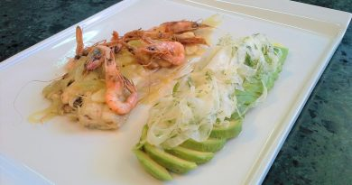 Small Sole Fish with Avocado and Fennel Salad